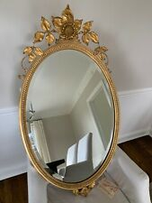 Carvers Guild Signed Oval Mirror #5220 Sunflower Antique Gold
