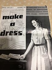VINTAGE MAKE A DRESS CIRCULAR /BOOKLET. OCTOBER 1951 PA. DEPT. OF AGRICULTURE