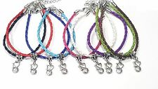 """lot of 3 Braided leather cord Bracelet with """"I Love Volleyball"""" Charm"""
