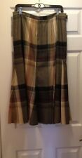 Jones NY Plaid Long Skirt Size 10 Wool Fully Lined Brown Red Godet Gorgeous