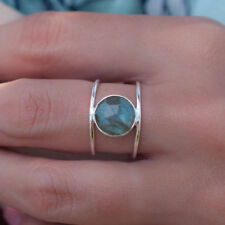 Boho Female Big Moonstone Ring Unique Style Silver Gold Color Wedding Jewelry