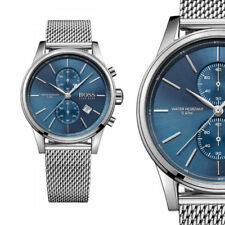 Hugo Boss HB 1513441 Jet Herrenuhr Chronograph Uhr Silberfarben Meshband NEU OVP