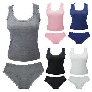 Womens 2 Piece Cotton Tank Top Laced Trim & Bikini Panties Cami Set Ribbed Knit