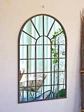 77cm high PROVINCIAL FRENCH  arched WINDOW MIRROR black INDOOR OUTDOOR  NEW