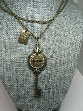 Guess Rhinestone Key shaped pendant necklace brass color