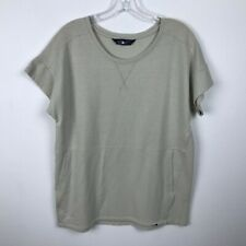 The North Face Shirt Size M Beige Sweatshirt Short Sleeve Kangaroo Pocket Womens