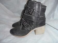 KELSI DAGGER BROOKLYN KDB WOMEN WASHED BLACK LEATHER ZIP ANKLE BOOTS  SIZE 3/36