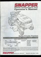 Original Factory Snapper Series B Riding Mowers Owner's Instruction Manual