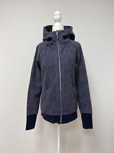 LULULEMON Women's Scuba Hoodie Jacket Activewear Full Zip Dark Blue Dots Size 8