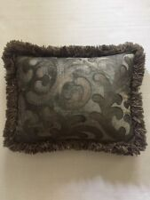 Decorative Throw Pillow with Feather/Down Insert and Fringe Trim