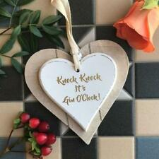 Knock Knock It's Gin O'Clock Double Hanging Heart Sign