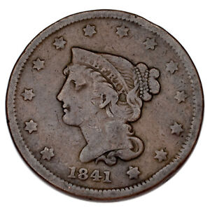 1841 Braided Hair Large Cent 1C Penny (Very Good, VG Condition)