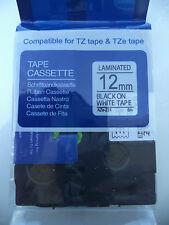 "Compatible BROTHER TZ-231 TZe-231 12mm 1/2"" LABEL-TAPE BLACK INK 26.2 ft"