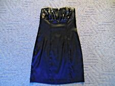 NEW As U Wish Womans 5 Black Sequin Satin Strapless Tuxedo Formal Knee Dress