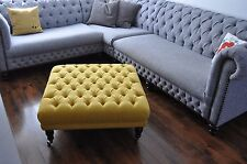 "👍🏼Gorgeous! NEW SIZE 34"" X 34"" X 15""  BUTTONED FOOTSTOOL STOOL YELLOW FABRIC"