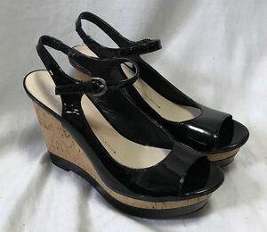 Franco Sarto Safari Black Patent Heels Peep Toe Women's 7M Cork Wedges Slingback