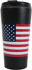 US Flag Travel Coffee Mug Insulated Cup 16oz Black Thermos Red White Blue