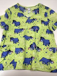 Disney Scrub Top Eeyore Pictures & Sayings from Winnie the Pooh Size Large green