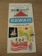 """1957 UNITED AIR LINES Ticket Folder~""""HAWAII""""~DC-7 Mainliner~GREAT Graphics~"""