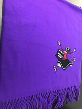 NWT Authentic Moschino Boutique Oblong 100% Wool Scarf in Purple Made In Italy
