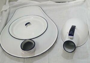 Vintage Antique Porcelain Enamel Bed Pan Complete with Cover