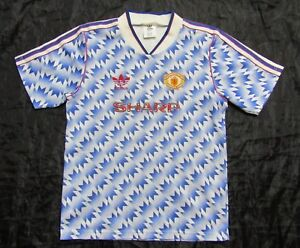 1990-1992 MANCHESTER UNITED away shirt jersey ADIDAS Red Devils BOY M 30/32
