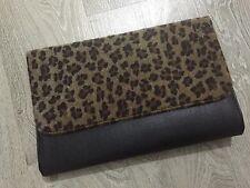 New Big Size Black & Faux Fur Leopard Print Envelope Clutch Bag ShoulderHB001-12