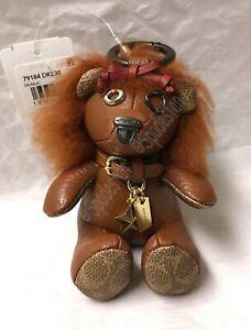 Coach 79184 Wizard of Oz LION Bear Bag Charm Key Ring Fob Brown Leather NWT Cute