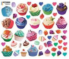 Aufkleber Sticker Wandaufkleber Wandsticker Cupcake Herz Blumen Cupcakes Dessert