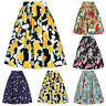 Vintage 50s 60s Retro Floral Waist Pleated Skirts Swing Party A line Swing Skirt