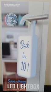 NEW!! Merkury Innovations Led Light Door hang for Messages With Dry Erase Marker