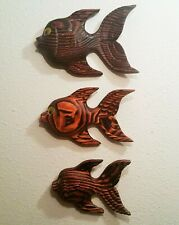 3 FISHES WITCO vtg california seattle wall scupture mcm hawaiian surf tiki art