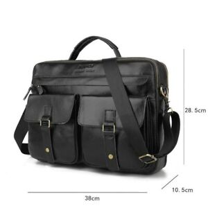 Men Business Casual Bag Genuine leather Briefcase Tote bags Brown large capacity