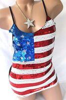 American Flag USA Women's Tank Top Blouse Sequin Stretch Shirt Metallic Bling