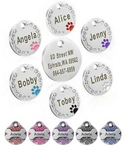 Personalised Impact ENGRAVING Dog ID Cat ID Name Bling Tag Puppy Pet ID Tags UK