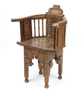 Moorish Elbow Chair Walnut Marquetry Mother of Pearl Inlay Syrian Circa 1890
