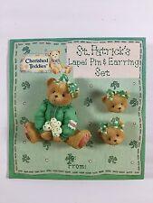 New 3 Pc. Set Cherished Teddies Pin & Pierced Earrings Set St. Patrick's Day NIP