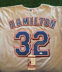 JOSH HAMILTON TEXAS RANGERS SIGNED GREY JERSEY JSA/COA H93552 FALL CLASSIC PATCH