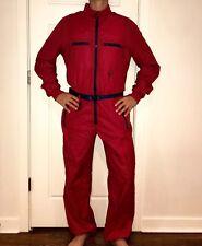 Vtg 80s ROFFE Red MEDIUM Mens Ski Suit Shell One piece Snow Bib Coat Snowsuit M