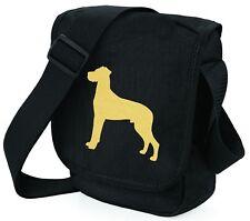 More details for great dane shoulder bags metallic gold / silver on black bag mothers day gift