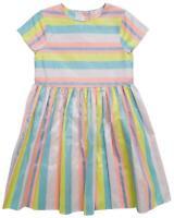 Girls Candy Pastel Stripe Short Sleeve Summer Sun Dress 5 to 10 Years