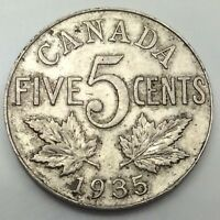 1935 Canada Large 5 Five Cents Nickel Circulated Canadian Coin D435