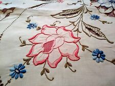 """Elaborate Dusty Rose Madeira Cutwork Embroidered Linen Tablecloth 90""""x76"""""""