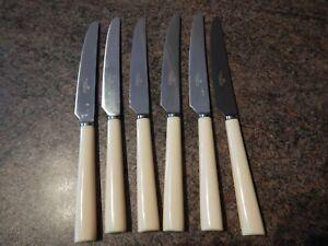 6 Walker & Hall Dinner - Table Knives Faux Bone Resin Handles