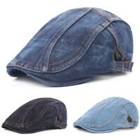 Men's Classic Denim Driving Golf Peaked Ivy Cap Adjustable Beret Newsboy Hat NEW