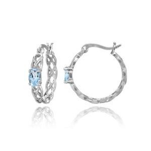 Celtic Knot Blue Topaz Round Hoop Earrings in Sterling Silver