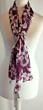 Marks & Spencer Classic Pure Silk Scarf Floral Maroon Purple New Tagged W711