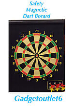 """""""18"""" 46 CM 2 SIDED MAGNETIC DARTBOARD WITH 6 DARTS SUPER SAFE,ROLL UP FUN GAME"""