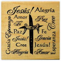 Resurrection Cross Collage in Spanish mounted rubber stamp, Christian Easter #21