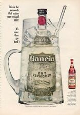 1966 Gancia PRINT AD Dry Vermouth Bottle in Pitcher of Ice Nice Frame-able ad